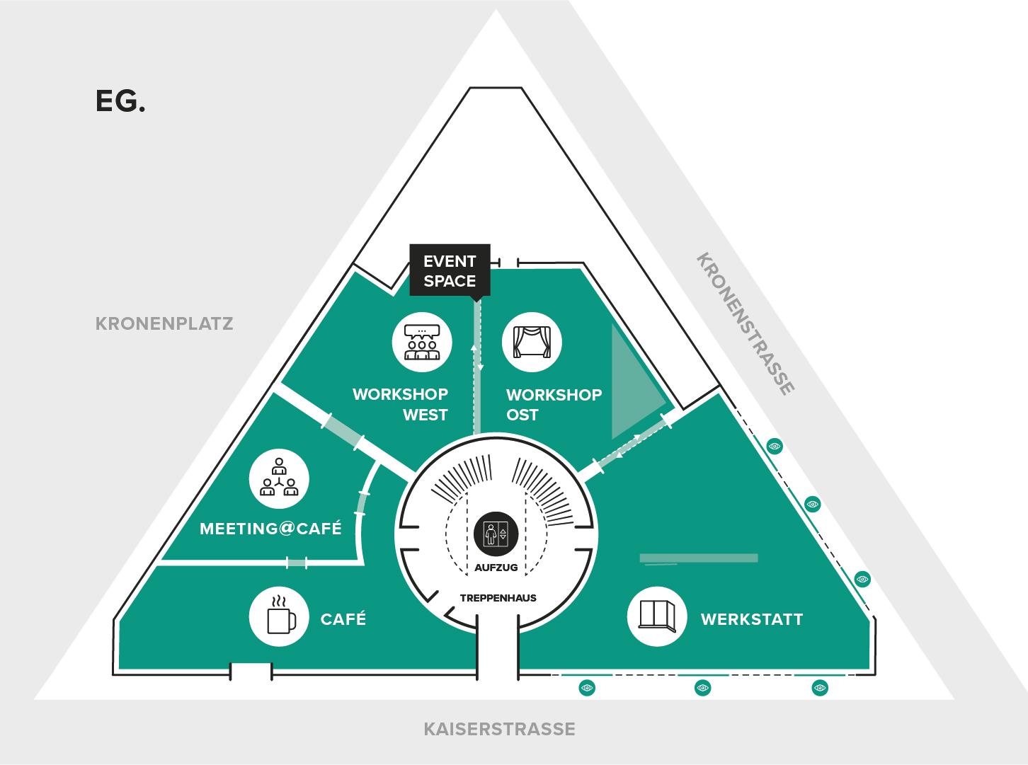 Bild: Grundriss vom TRIANGEL Open Space: Erdgeschoss